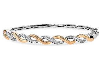 B235-14825: BANGLE BRACELET .42 TW (ROSE & WG)